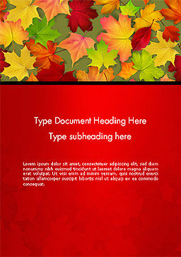 Red and Yellow Autumn Leaves Word Templae, Cover Page, 14287, Holiday/Special Occasion — PoweredTemplate.com