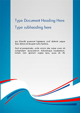 Blue White and Red Curve Shapes Word Temaplte Cover Page