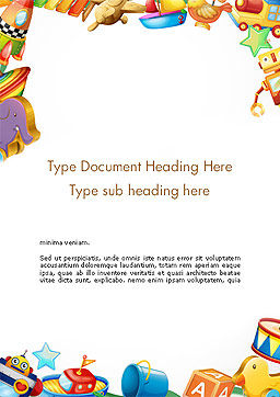 Toys Frame Word Template Cover Page