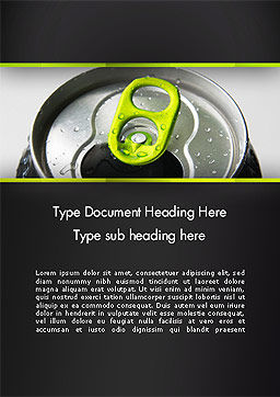 Energy Drink Can Word Template, Cover Page, 14297, Food & Beverage — PoweredTemplate.com