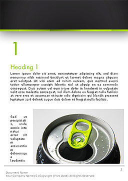 Energy Drink Can Word Template, First Inner Page, 14297, Food & Beverage — PoweredTemplate.com