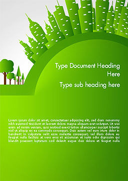 Green City Concept Word Template, Cover Page, 14299, Nature & Environment — PoweredTemplate.com
