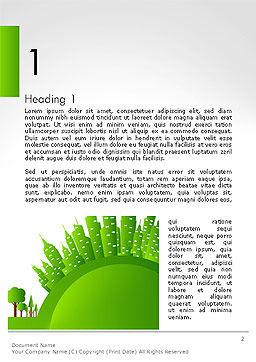 Green City Concept Word Template, First Inner Page, 14299, Nature & Environment — PoweredTemplate.com