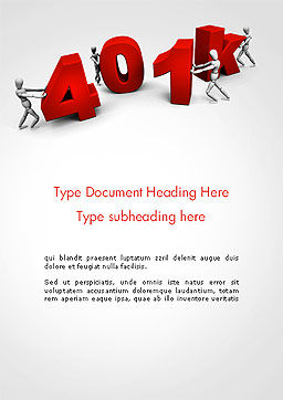 401k Word Template, Cover Page, 14303, Financial/Accounting — PoweredTemplate.com