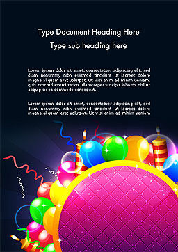 Happy Birthday Card Word Template, Cover Page, 14305, Holiday/Special Occasion — PoweredTemplate.com