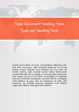 Gray World Map Word Template Cover Page