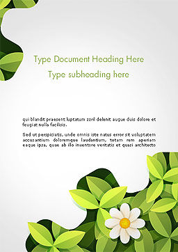 Green Gear Shape with Flower Word Template Cover Page