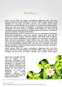 Green Gear Shape with Flower Word Template First Inner Page