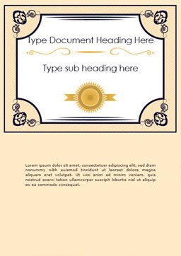 Gold Certificate Frame Word Template Cover Page