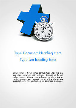Blue Cross and Chronometer Word Template, Cover Page, 14327, Medical — PoweredTemplate.com