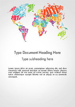 2017 World Map Word Template, Cover Page, 14329, Holiday/Special Occasion — PoweredTemplate.com