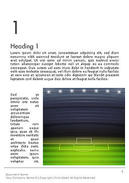 Football Stadium at Night Word Template, First Inner Page, 14332, Sports — PoweredTemplate.com