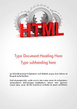 HTML and Gears Word Template, Cover Page, 14333, 3D — PoweredTemplate.com