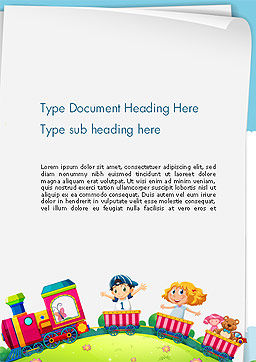 Children on the Train Illustration Word Template Cover Page