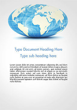 World Globe in Hammer-Aitoff Projection Word Template Cover Page