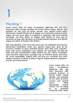 World Globe in Hammer-Aitoff Projection Word Template First Inner Page