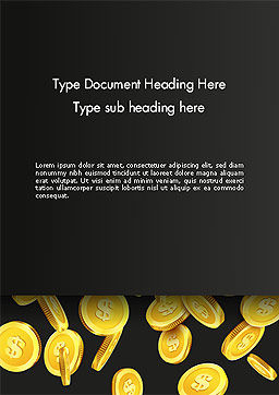 Falling Dollar Coins Word Template Cover Page