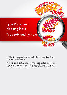 Question Mark with Magnifying Glass Word Template, Cover Page, 14343, Education & Training — PoweredTemplate.com