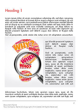 Question Mark with Magnifying Glass Word Template, First Inner Page, 14343, Education & Training — PoweredTemplate.com