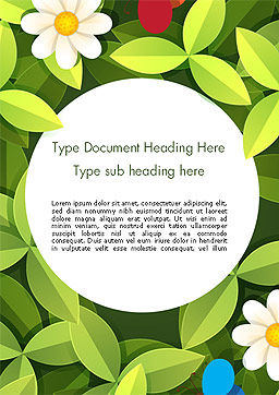 Green Leaf with Flowers and Butterflies Word Template Cover Page