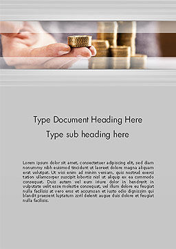 Man Hand in Holding Golden Coins Word Template Cover Page
