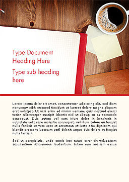 Open Notebook with Cup of Coffee on Wooden Desk Word Template, Cover Page, 14352, Business Concepts — PoweredTemplate.com