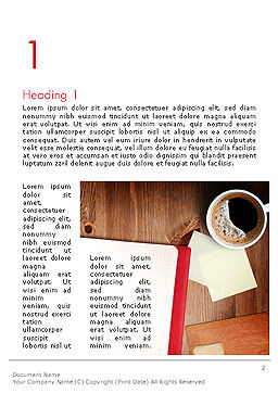 Open Notebook with Cup of Coffee on Wooden Desk Word Template, First Inner Page, 14352, Business Concepts — PoweredTemplate.com