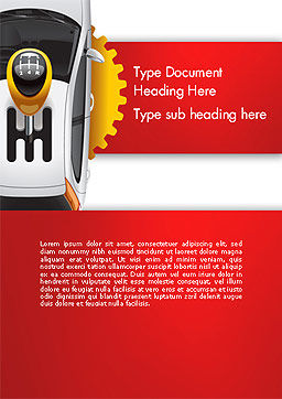 Car and Gearstick Word Template, Cover Page, 14357, Cars/Transportation — PoweredTemplate.com