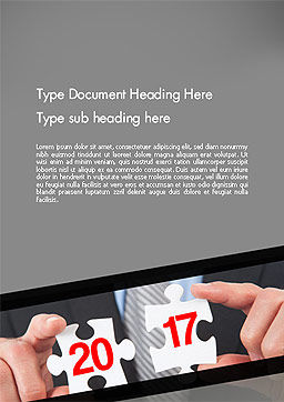 Hands and Puzzle 2017 Word Template, Cover Page, 14359, Business Concepts — PoweredTemplate.com