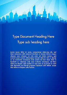 Silhouette of The City Word Template, Cover Page, 14361, Construction — PoweredTemplate.com