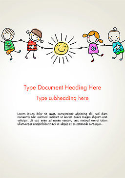 Children's Day Word Template, Cover Page, 14363, Education & Training — PoweredTemplate.com