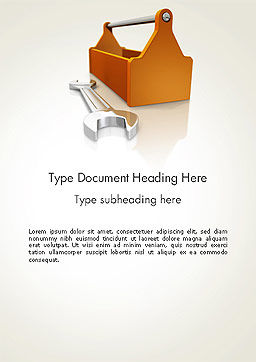 Toolbox and Spanner Word Template, Cover Page, 14366, Utilities/Industrial — PoweredTemplate.com