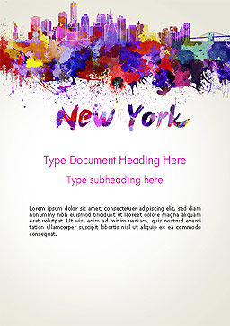 New York Skyline in Watercolor Splatters Word Template Cover Page