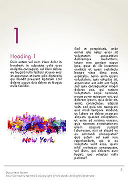 New York Skyline in Watercolor Splatters Word Template First Inner Page