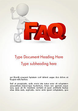 3D Small Person Standing Next to FAQ Word Template, Cover Page, 14371, 3D — PoweredTemplate.com