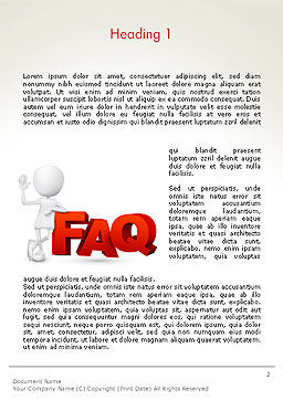 3D Small Person Standing Next to FAQ Word Template, First Inner Page, 14371, 3D — PoweredTemplate.com