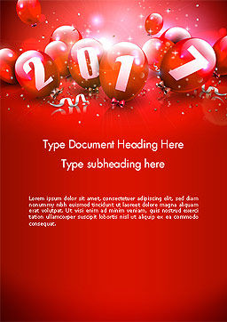 2017 Greeting Card with Red Balloons Word Template, Cover Page, 14374, Holiday/Special Occasion — PoweredTemplate.com