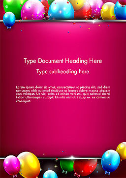 Colorful Balloons Festive Word Template, Cover Page, 14389, Holiday/Special Occasion — PoweredTemplate.com
