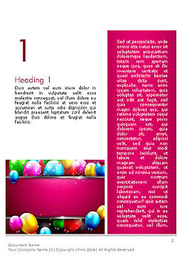 Colorful Balloons Festive Word Template, First Inner Page, 14389, Holiday/Special Occasion — PoweredTemplate.com