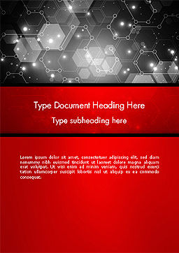 Hexagonal Network Abstract Word Template, Cover Page, 14394, Technology, Science & Computers — PoweredTemplate.com