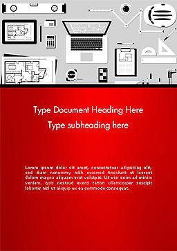 Construction Engineer Desktop Word Template, Cover Page, 14399, Construction — PoweredTemplate.com