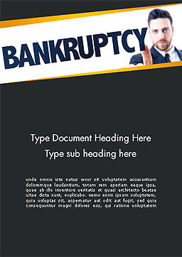 Businessman Pointing the Text Bankruptcy Word Template Cover Page