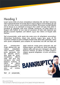 Businessman Pointing the Text Bankruptcy Word Template First Inner Page