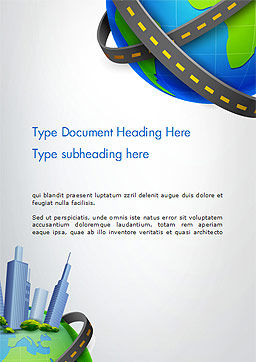Road Around Globe with Skyscrapers Word Template, Cover Page, 14409, Construction — PoweredTemplate.com