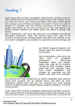 Road Around Globe with Skyscrapers Word Template, First Inner Page, 14409, Construction — PoweredTemplate.com