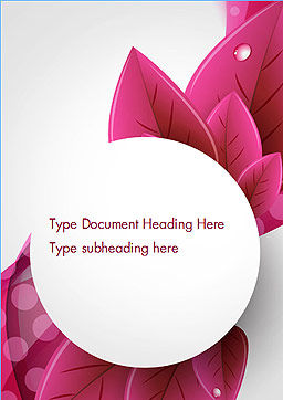 Leaves and Pink Wave Abstract Word Template, Cover Page, 14410, Holiday/Special Occasion — PoweredTemplate.com