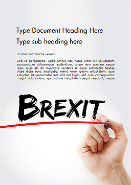 Hand Writing Brexit with Marker Word Template Cover Page