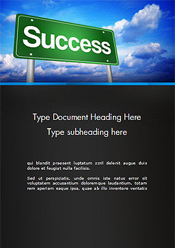 Success Green Waymark Word Template Cover Page