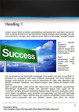 Success Green Waymark Word Template First Inner Page