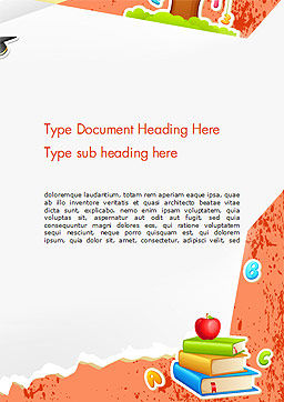 School Theme Background Word Template, Cover Page, 14424, Education & Training — PoweredTemplate.com